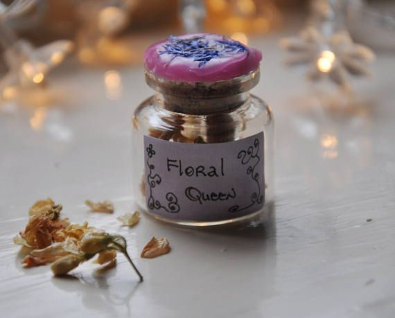 Floral Queen Spell Bottle. Filled with jasmine flowers, wild violets and Magic.
