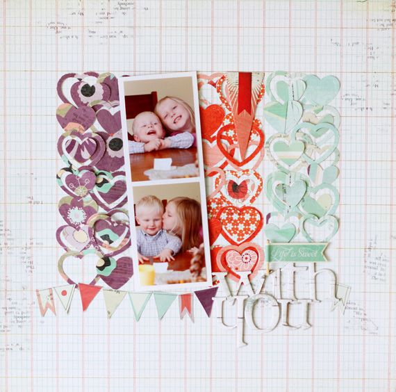 Use paper punches and patterned paper to create a background for photo elements on top graph paper