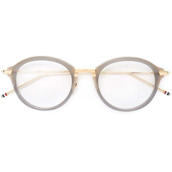 Thom Browne Eyewear round frame glasses (13.878.385 IDR) ❤ liked on Polyvore featuring accessories, eyewear, eyeglasses, grey, thom browne eyeglasses, thom browne glasses, grey glasses, thom browne and unisex glasses
