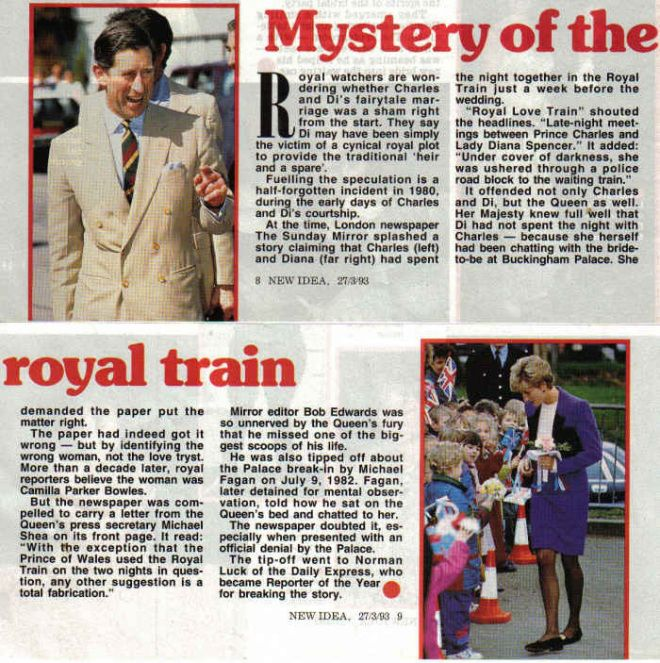 "Our Princess Diana News Article Today: ""The Mystery Of The Royal Train"""