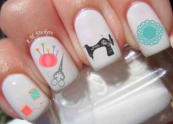 56 Sewing Nail Decals by AMstickers on Etsy