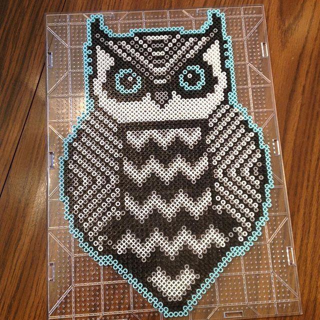 Tribal owl perler beads by _theperlerbeadmakers_