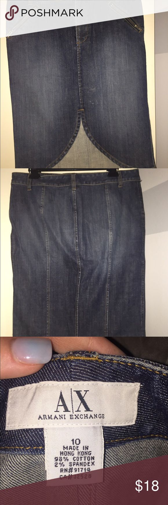 Armani Exchange Jean Skirt perfect condition, super cute/trendy! Armani Exchange Skirts