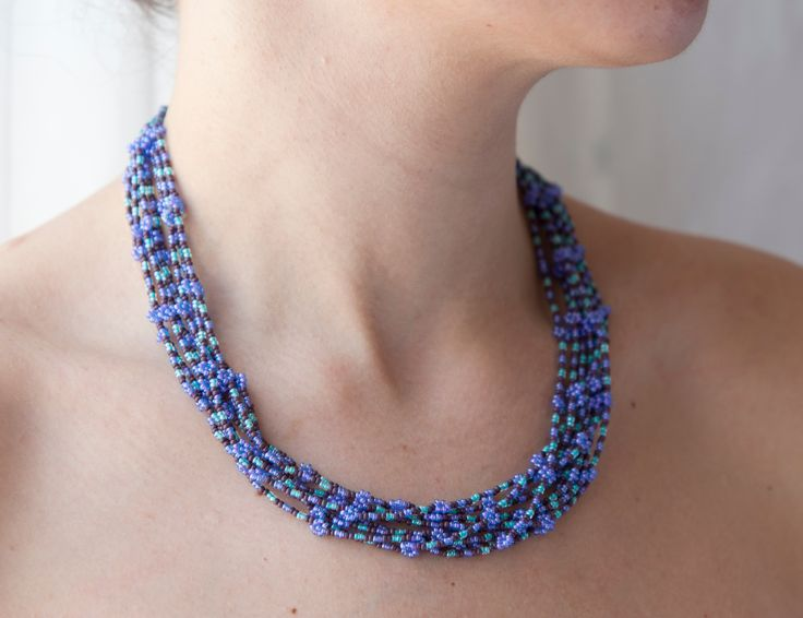 Beaded blue Necklace by the women of Woza Moya, HillCrest AIDS Centre South Africa. Fashioned For Change artisans