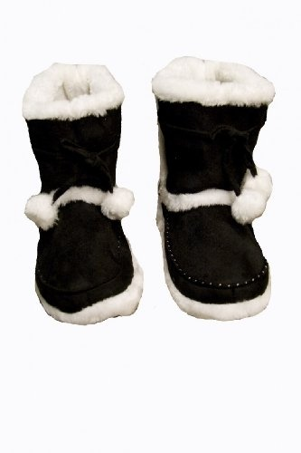 Womens Warm Faux Fur Lined Pom Pom Bootie Slippers $9.99