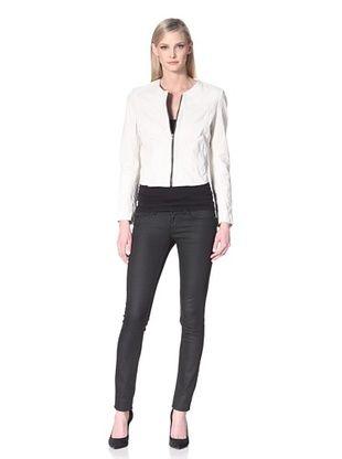 80% OFF Hare + Hart Davis Leather Jacket (Chalk)