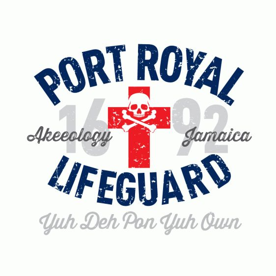 PORT ROYAL LIFEGUARD - YUH DE PON YUH OWN. In 1692, the Pirate Paradise, Sin City, otherwise named Port Royal, Jamaica, was hit with a massive earthquake and a series of tidal waves, which leveled the then wicked capital of the island. Since then you are the self appointed Port Royal Lifeguard letting those take heed, sink or swim but 'Yuh Deh Pon Yuh Own'.  Contoured fit men's t-shirt available in silver and white. #Jamaican #patois