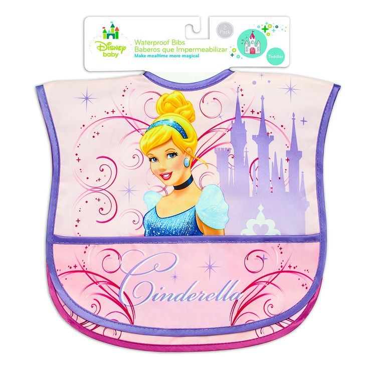 2-Pack Waterproof Bibs featuring DISNEY PRINCESS