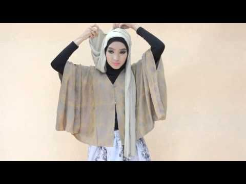 Hijab Tutorial Segi Empat Party Glitter - YouTube