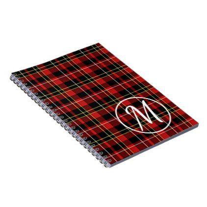 Custom Scots Red Black Yellow White Tartan Pattern Notebook - retro gifts style cyo diy special idea