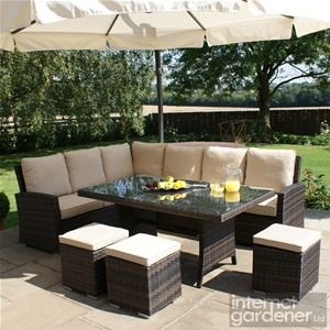 Maze Rattan Kingston Corner Dining Rattan Set. Rattan Garden FurnitureDeck  ...
