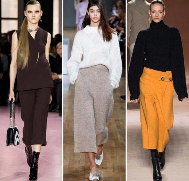 Tendenze Moda autunno inverno 2015 2016 Pantaloni larghi a tre quarti