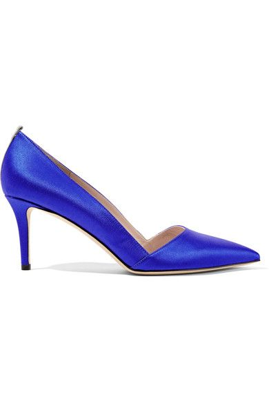 Heel measures approximately 70mm/ 3 inches Royal-blue satin Slip on Designer color: Expert Made in Italy