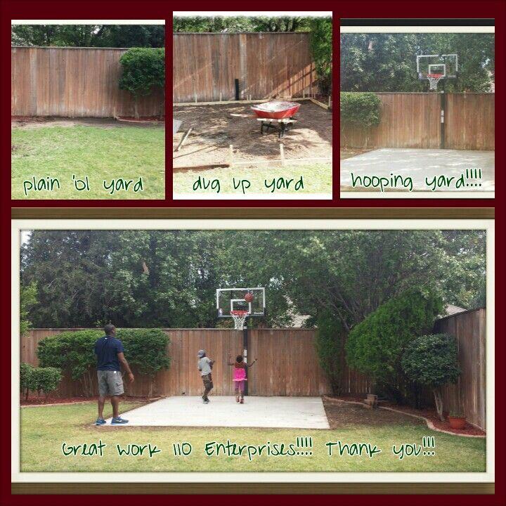 Back yard mini basketball court - work done by 110 Enterprises