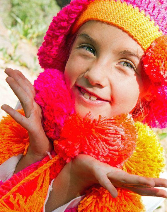 Giant Pom-Pom Fringe Scarf for Girls in Four by thejoyofcrochet