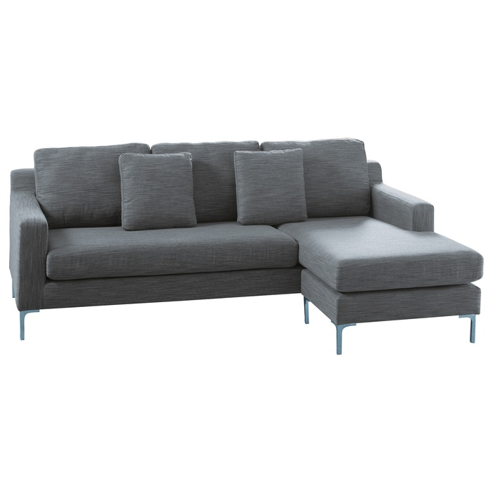 A highly contemporary range, the sofas in the Oslo range feature large plush back cushions for support and a tough but soft material cover. The chairs are supported by sturdy stainless steel legs, for a sleek finish. Simply flip the cushions and move the footstool of this reversible sofa to avoid arguments over who wants the chaise! £899
