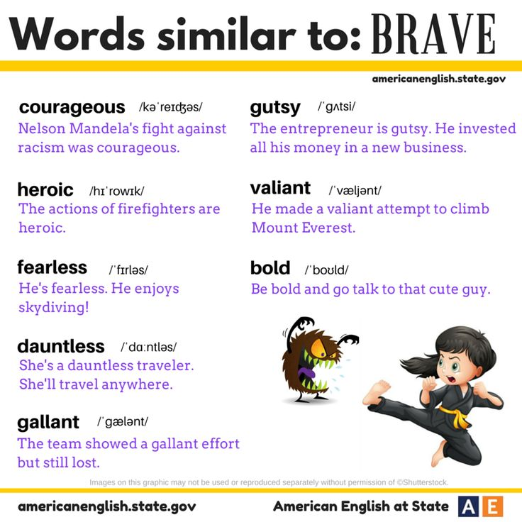 "It's time for #AmericanEnglish Synonym Sunday! Check out our graphic for synonyms of the word ""brave."" All of these words are adjectives and similar in meaning to ""brave"": courageous, heroic, fearless, dauntless, gallant, gutsy, bold & valiant. Are you brave?"