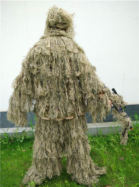 Free shipping desert Bionic Ghillie Suits camouflage grass hay style hunting Recon yowie Paintball,Military clothing