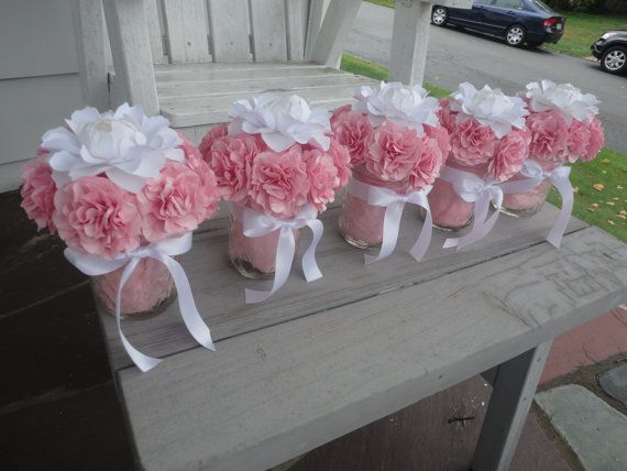 Paper Flower Centerpiece Paper Flower Arrangement Peony Carnation    Five pink carnation and white peony centerpieces. (Will be customized in your