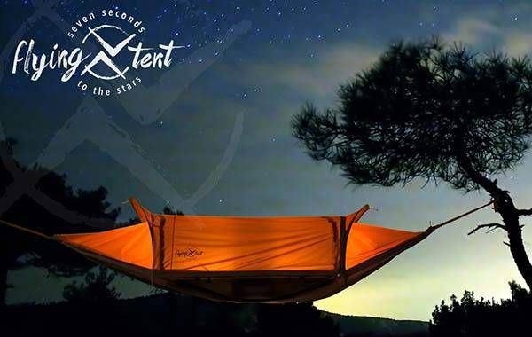 The 4-In-One Flying Tent Serves as Hammock and Rain Poncho