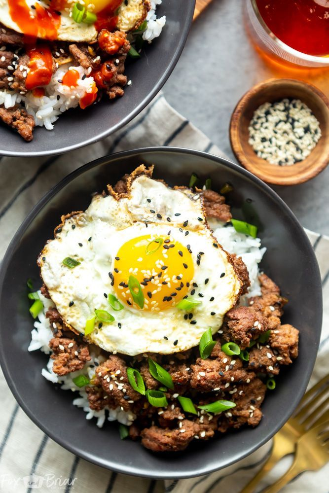 Korean Ground Beef Bowls Recipe Healthy Ground Beef Beef Recipes Easy Korean Ground Beef