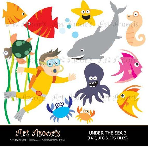 Under The Sea, diver, Fish, Under water, sea animal, Clipart, scrapbook, Digital Clip Art, Vector, jpg, png TFP-13