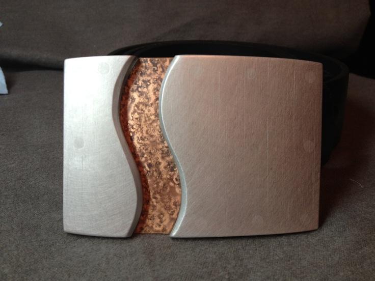 Micah Hallock: Copper Aluminum Acrylic Belt Buckle with belt.