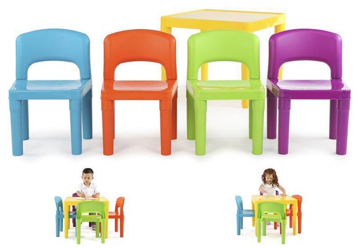 FYI: Kids Play Table And Chairs Playroom Plastic 4 Chair Set Toddler Bedroom Fun