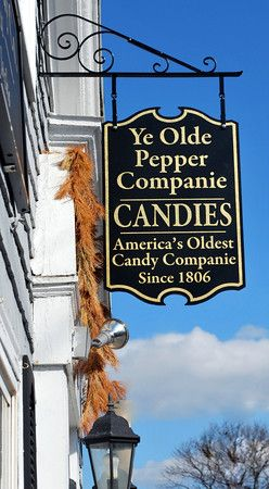 Ye Olde Pepper Companie, Salem, Massachusetts, the oldest candy company in the country.  Founded by the shipwrecked, and thus, destitute Mary Spencer, who, with only her candy recipe to her name, started making Salem Gibraltars in 1806.