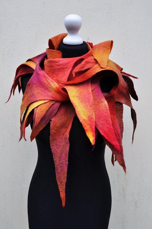 Felted scarf  wool nuno felt felt felted by AleksandrabWiniarska, $72.00....I like this b/c it reminds me of the girl on fire costume