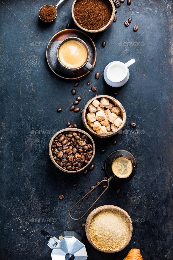 Coffee Composition On Dark Background Flat Lay Food Flatlay Food Photography Composition Gourmet Coffee