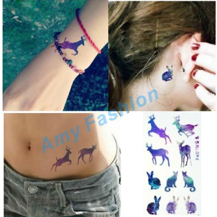 Fashion Harajuku gradient rabbit deer Disposable Tattoo Stickers Waterproof Male and female models Temporary Tattoo Sticker