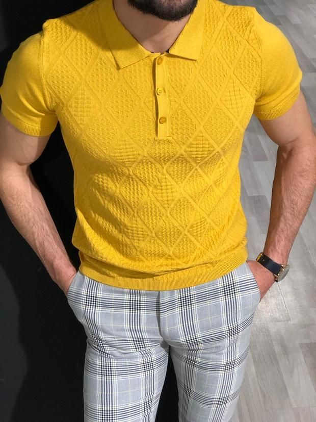 f9bf81f60 Slim Fit Collar T-Shirt in Yellow in 2019 | men casual smart ...