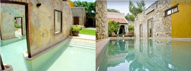 Ruins turned into swimming pools. Hotels pictured: Hacienda Puerta Campeche / Hacienda Uayamon, both in Mexico.
