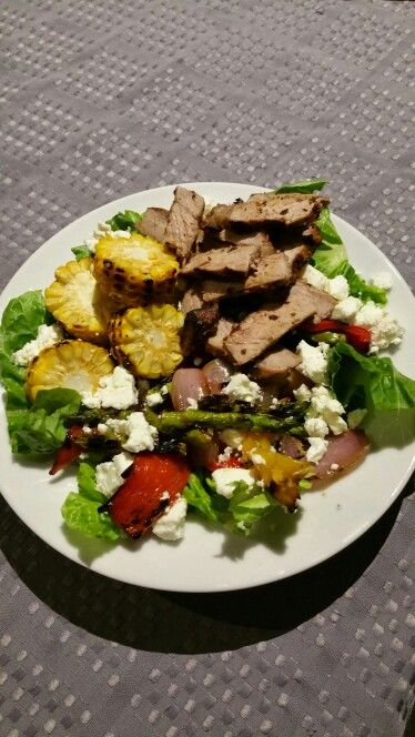 Week 2 - Beef Fajita Salad with Mexican Spiced Corn. Substituted avocado for feta.