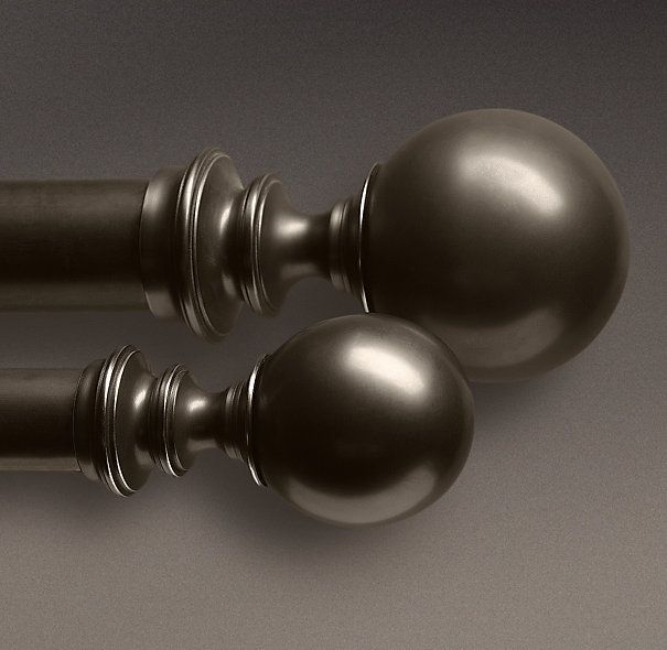 Estate Metal Set of 2 Ball Finials in Oil-Rubbed Bronze from Restoration Hardware