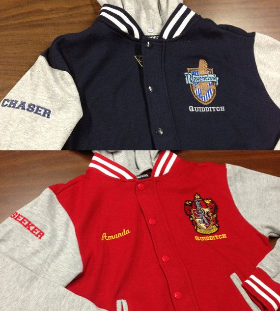 Hogwarts House Fully Custom Quidditch Varsity Jacket The only situation is which a fake varsity jacket is cool I'd be a Keeper, with the number 16 ;)
