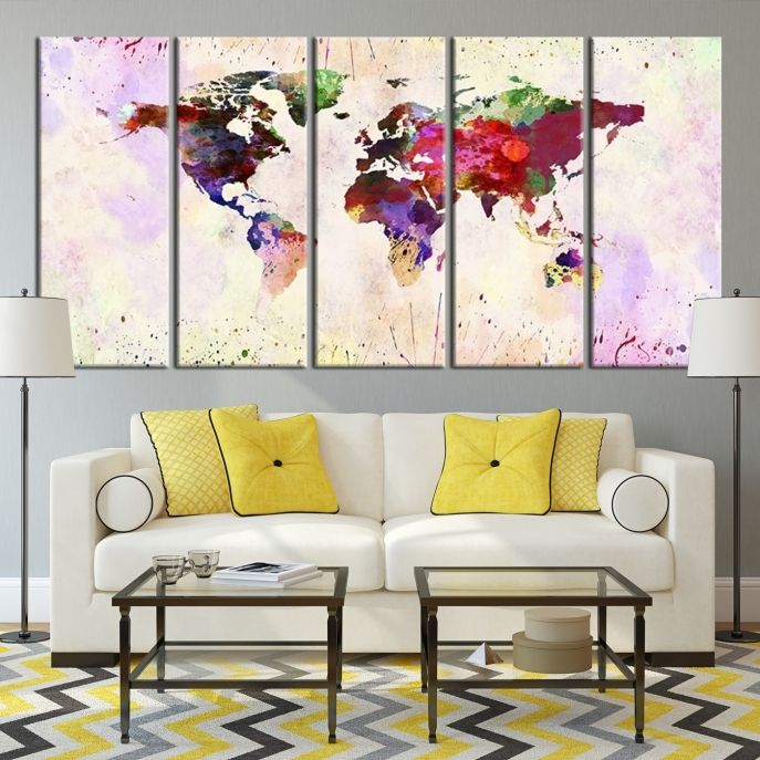51 best watercolor world map canvas print images on pinterest large wall art colorful ink splashed world map canvas print mygreatcanvas extra gumiabroncs Gallery
