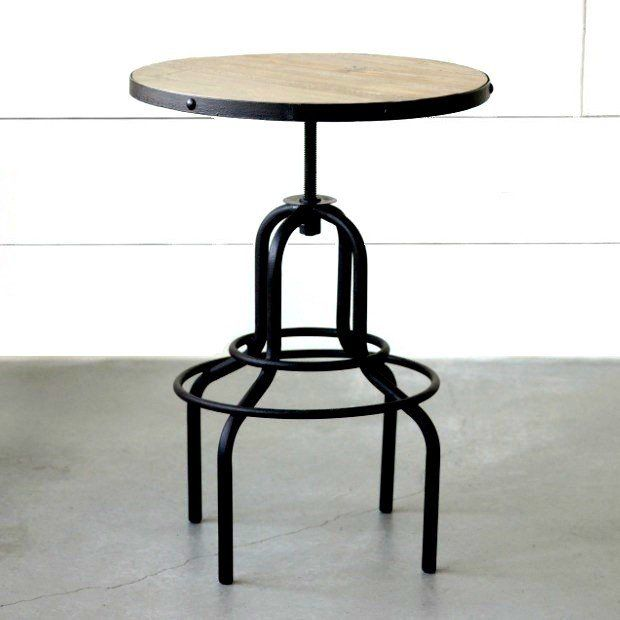 Wonderful Wood And Metal Industrial Bar Table
