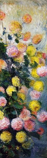 """Dahlias 2"" ・ by Claude  Monet ・ Date: 1883 ・ Style: Impressionism ・ Genre: flower painting"