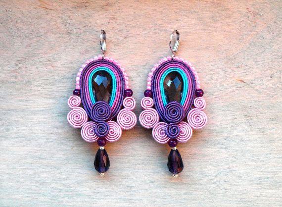 Soutache earrings Dangle purple pink turquoise by ShoShanaArt