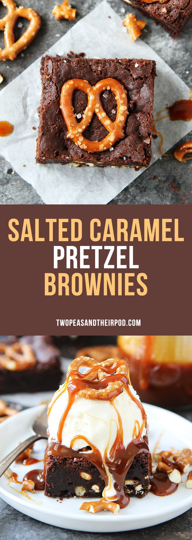 Salted Caramel Pretzel Brownies are fudgy, gooey brownies with pretzel pieces and a layer of salted caramel sauce. Top these rich chocolate brownies with ice cream and extra salted caramel sauce for