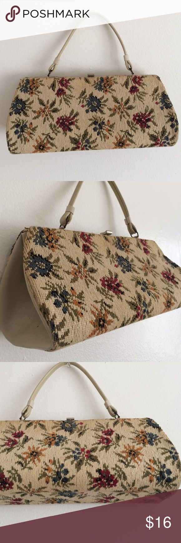 """Vintage 1960s textured carpet-bag style handbag Vintage 60's carpetbag style purse. Folk-style floral, pvc material trim , handle & lining. Has some very minor cosmetic imperfections due to age,  still a great handbag , very cute! 14.5"""" long , 7"""" high, handle drop is 6"""" . Vintage Bags"""
