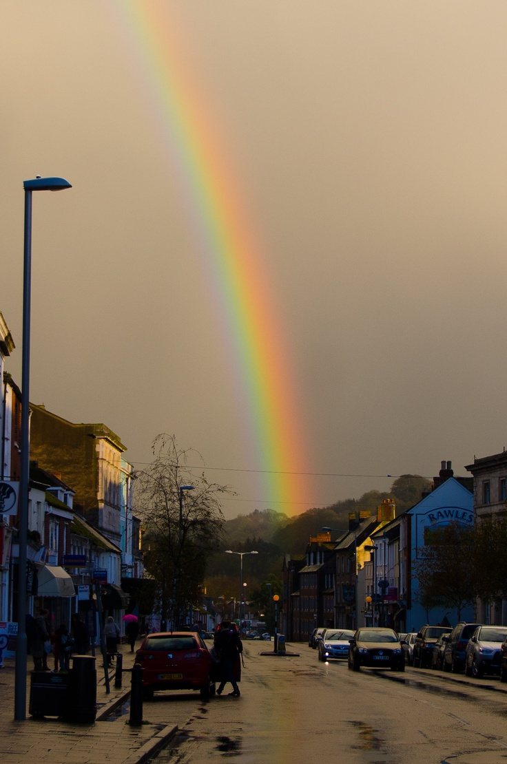 Rainbow over East Street, Bridport, Dorset. England. My mother was born and spent her childhood here. My main goal is to visit this place!