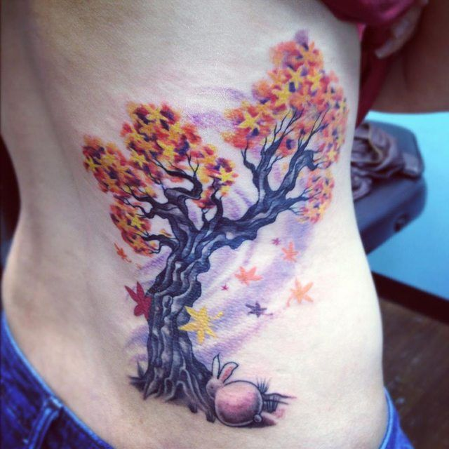 Japanese maple tree with bunny. Caroline Westmeyer at Blue Rose Tattoo Huntsville, Al.