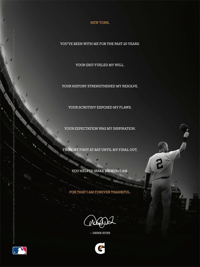 Ad of the Day: Gatorade's Epic Farewell to Derek Jeter Will Be Tough to Beat | Adweek