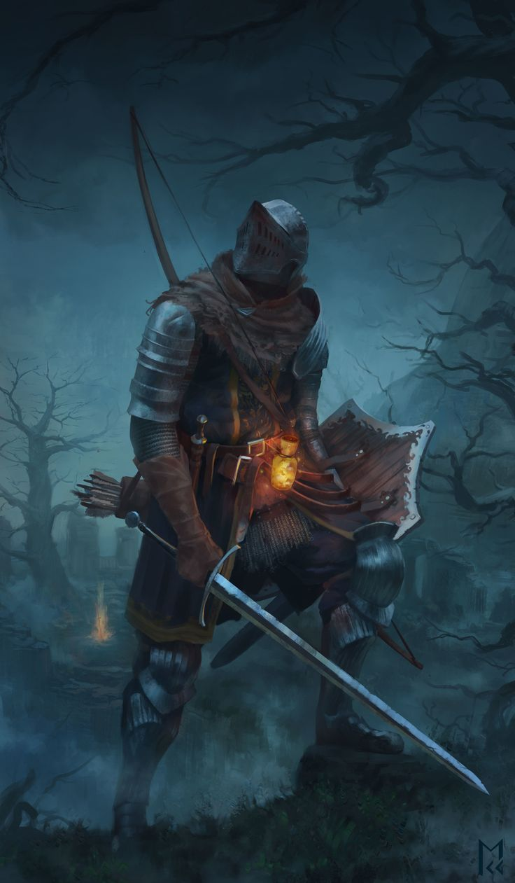 Fuego de Hierro Quebrado según versión involuntaria pero muy precisa de Manuel Castanon. ArtStation   Dark Souls OC fanart series