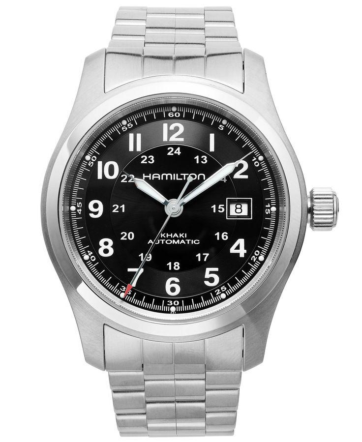 Hamilton Watch, Men's Swiss Automatic Khaki Field Stainless Steel Bracelet 42mm H70515137