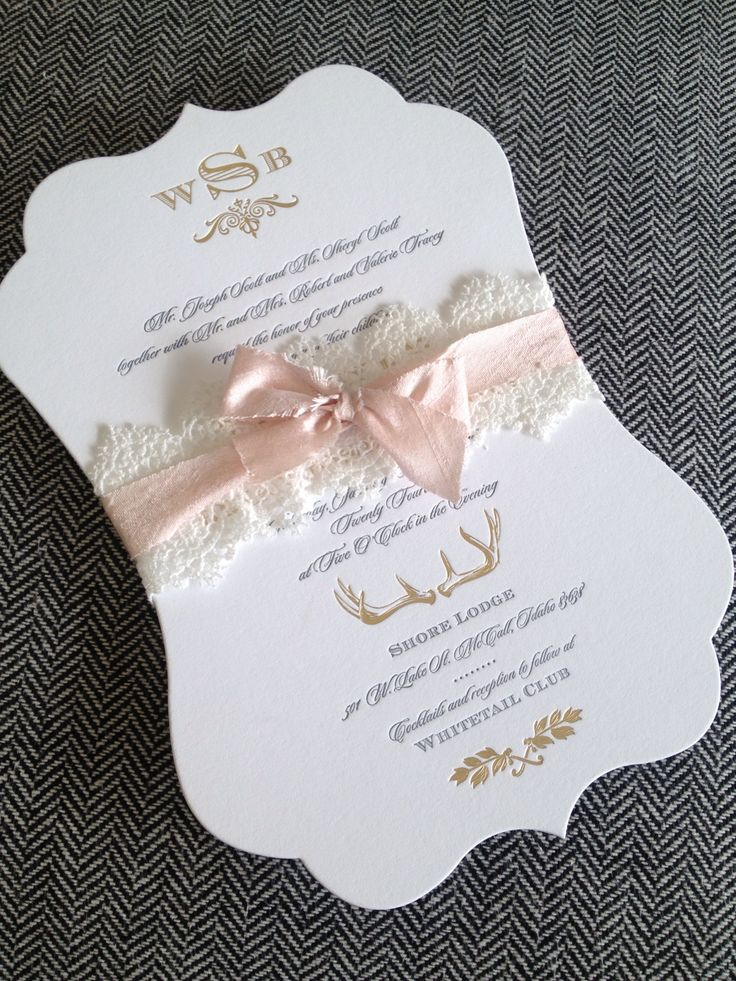 Beautiful wedding invitation with lace