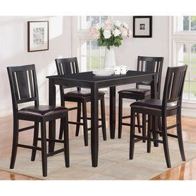East West Furniture Buckland Black Dining Set With Rectangular Counter (35-In To 37-In) Table